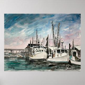 Nautical art boats print