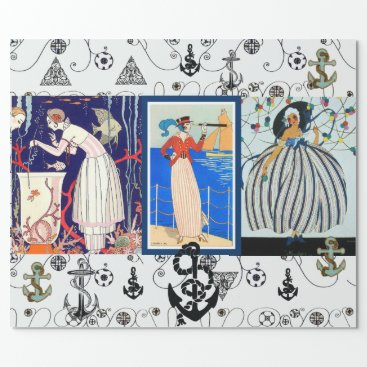 Beach Themed NAUTICAL ART DECO BEAUTY FASHION WITH ANCHORS WRAPPING PAPER