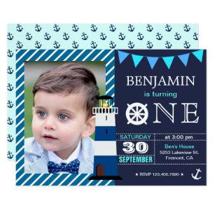 1st birthday boy invitations announcements zazzle nautical baby boy 1st birthday party invitation stopboris Images