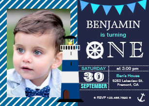 1st birthday boy invitations announcements zazzle nautical baby boy 1st birthday party invitation filmwisefo Image collections