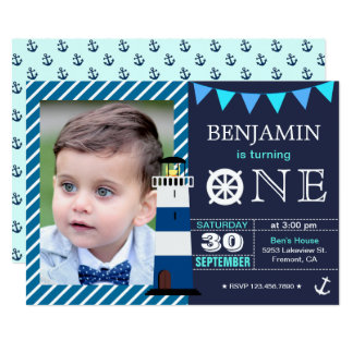 Baby first birthday invitations announcements zazzle nautical baby boy 1st birthday party invitation stopboris Choice Image