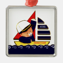 Nautical Baby Boy Metal Ornament