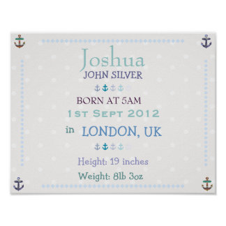 Nautical Baby boy personalized date of birth print