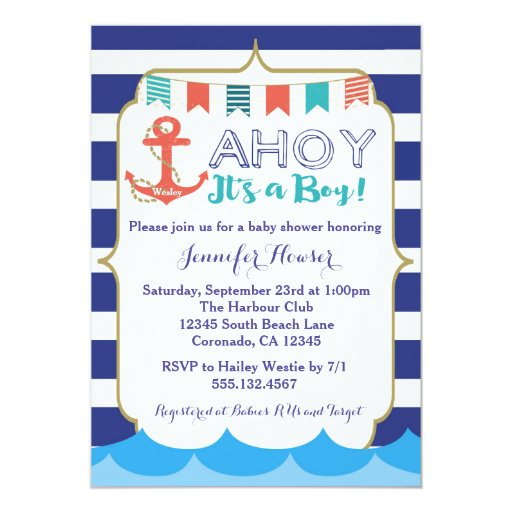 Nautical Baby Boy Shower Invitation Navy Blue