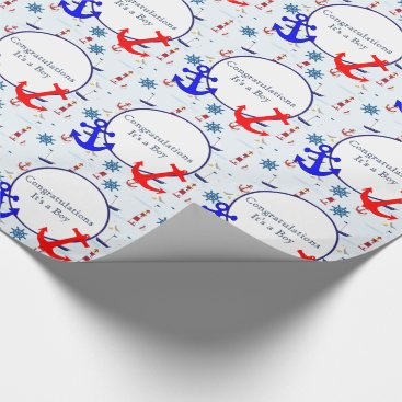 Beach Themed Nautical baby boy shower wrapping paper