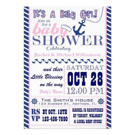 Nautical Baby Girl Baby Shower Invitation