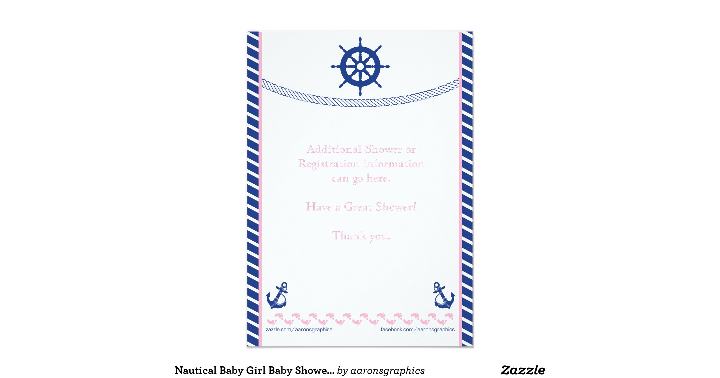 nautical baby girl baby shower invitation