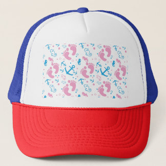 Nautical baby girl custom background color trucker hat