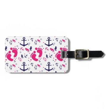Nautical baby girl pink, navy blue bag tag