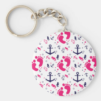 Nautical baby girl pink, navy blue keychain