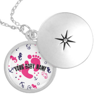 Nautical baby girl pink, navy blue locket necklace