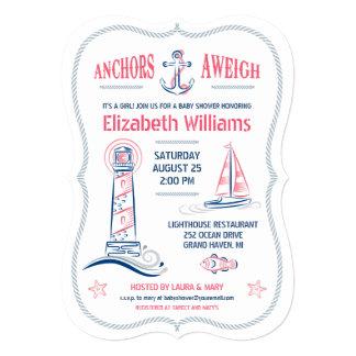 Nautical Baby Girl Shower Invitation