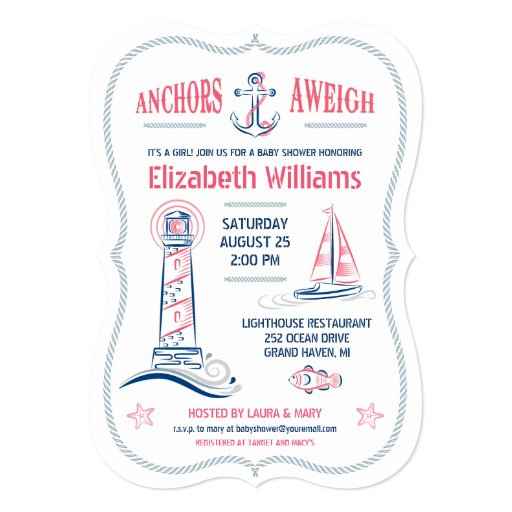 nautical baby girl shower invitation zazzle