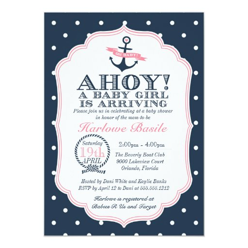 nautical baby girl shower invitation polkadot zazzle