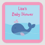 Nautical Baby Girl Whale Envelope Seals Stickers