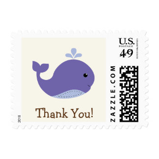 Nautical Baby Purple Whale, Ocean Thank You Postage Stamps