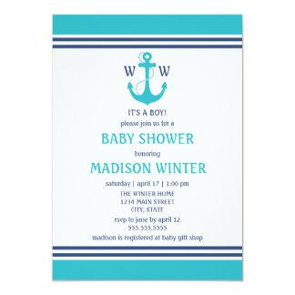 "Nautical Baby Shower 5"" X 7"" Invitation Card"