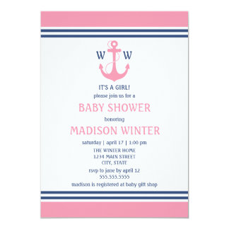 Nautical Baby Shower 5x7 Paper Invitation Card