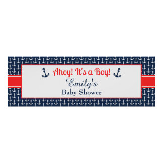 Nautical Baby Shower Banner - Boy Poster