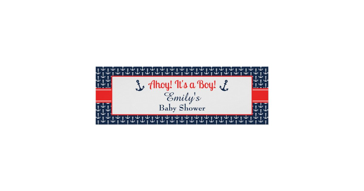 Baby shower posters zazzle nautical baby shower banner boy poster pronofoot35fo Choice Image