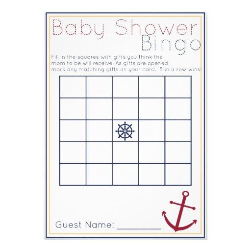 Nautical Baby Shower Bingo Game Custom Announcement