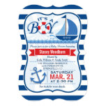 Nautical Baby Shower; Blue & White Stripes 5x7 Paper Invitation Card