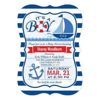Nautical Baby Shower; Blue & White Stripes 5x7 Paper Invitation Card
