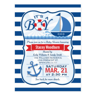 Nautical Baby Shower; Blue & White Stripes Postcard