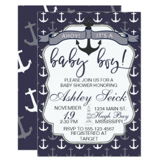 Ahoy Its A Boy Invitations Announcements Zazzle