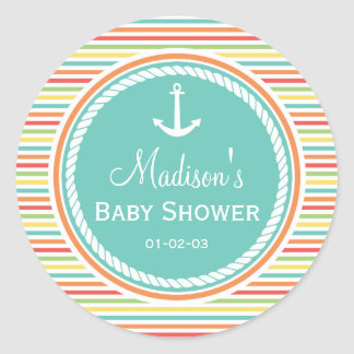 Nautical Baby Shower, Bright Rainbow Stripes Classic Round Sticker