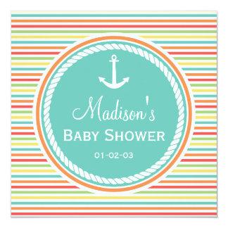 Nautical Baby Shower, Bright Rainbow Stripes 5.25x5.25 Square Paper Invitation Card