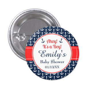 Nautical Baby Shower Button - Boy