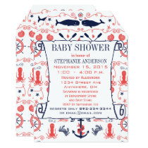 Nautical Baby Shower Coral Navy Whales Octopus Card