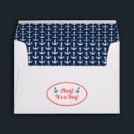 """Nautical Baby Shower Envelope<br><div class=""""desc"""">Part of the &quot;Ahoy! It&#39;s a Boy!&quot; nautical baby shower range,  this envelope has a blue and white anchor motif on the inside and the slogan on the back.</div>"""