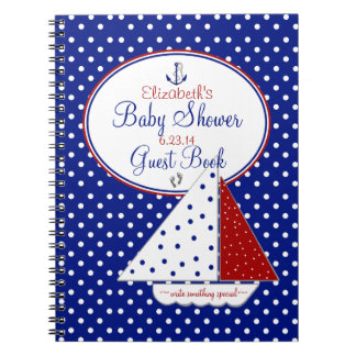 Nautical-Baby Shower Guest Book- Spiral Note Book