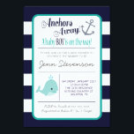 "Nautical Baby Shower Invitation<br><div class=""desc"">Let&#39;s help celebrate the lovely mom to be with this navy &amp; teal nautical baby shower invitation!</div>"