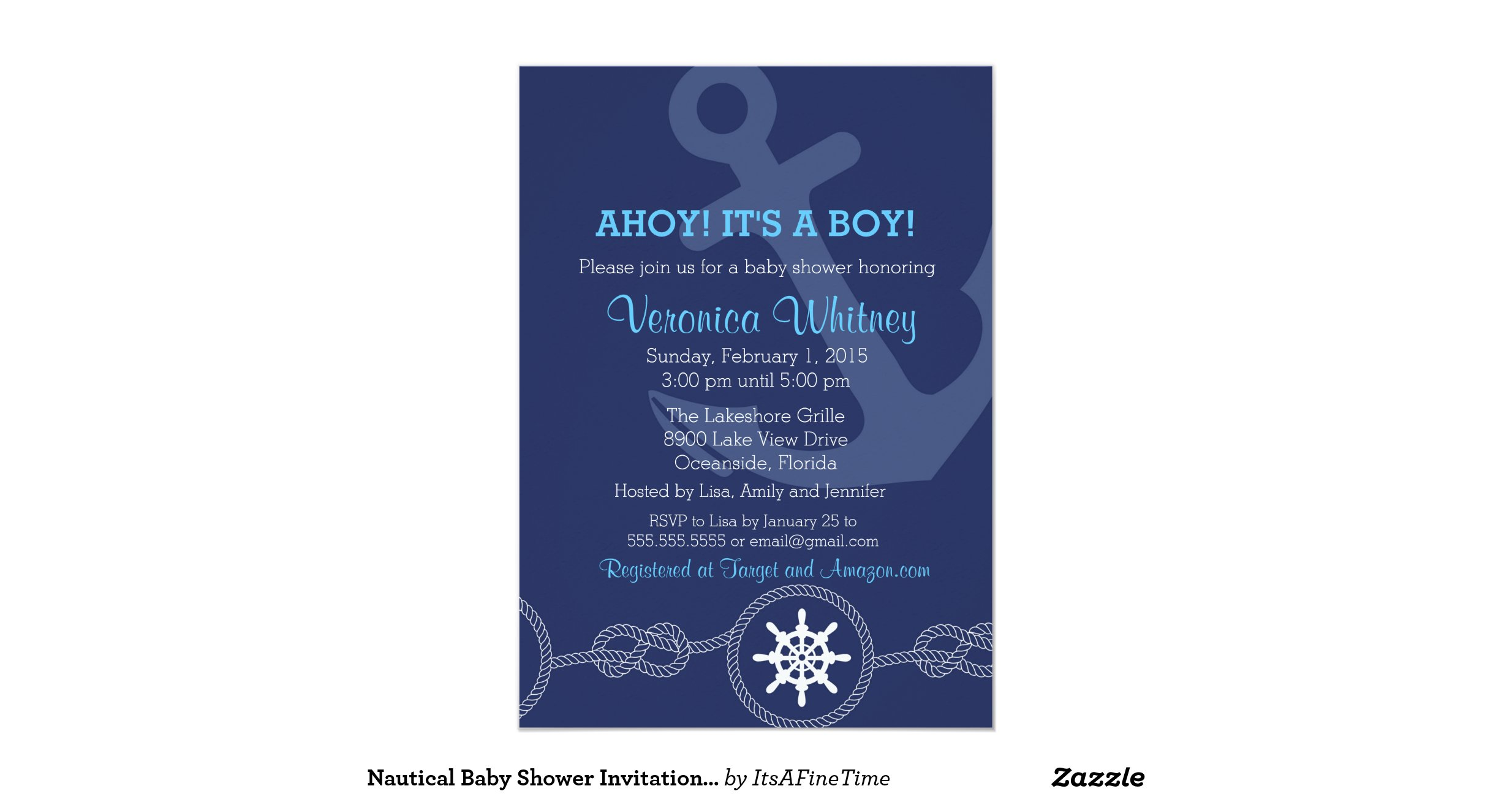nautical baby shower invitation ahoy its a boy 5 x 7 invitatio