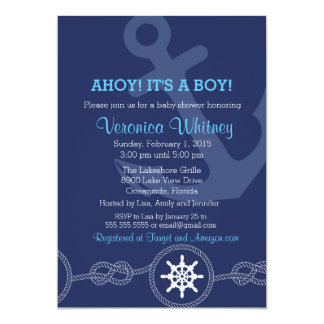 Nautical Baby Shower Invitation, Ahoy! Its a Boy! Card