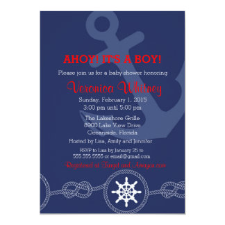 Nautical Baby Shower Invitation, Ahoy! Its a Boy! Card