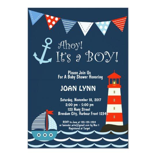 nautical baby shower invitation ahoy it s a boy invitation