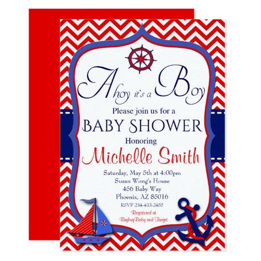 Nautical Baby Shower Invitation Ahoy It S A Boy