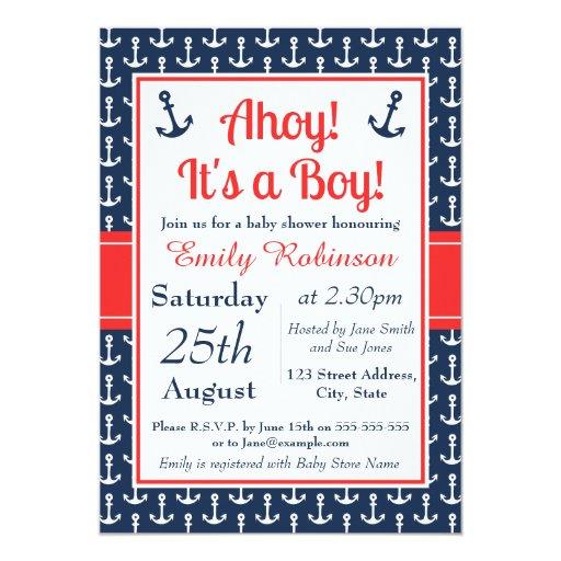 Nautical Baby Shower Invitation - Boy