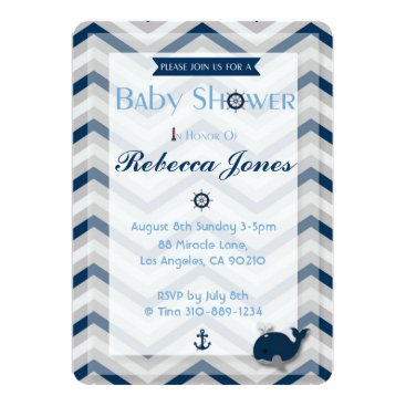 Beach Themed Nautical Baby Shower Invitation Boy Blue Chevron