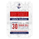 Nautical Baby Shower Invitation, Boy Blue Red Ahoy Card