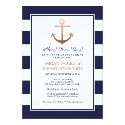 Navy Nautical Itu0027s A Boy Baby Shower Invitation | Zazzle