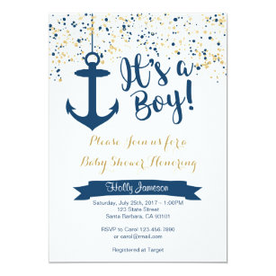 Nautical Baby Shower Invitation  Navy And Gold Card
