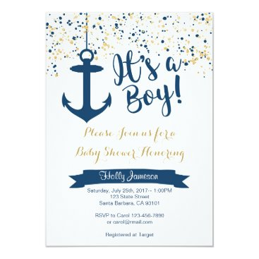 Toddler & Baby themed Nautical Baby Shower Invitation- Navy and Gold Card