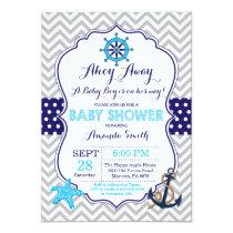 Nautical Baby Shower Invitation Navy Blue Gray