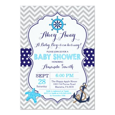 Beach Themed Nautical Baby Shower Invitation Navy Blue Gray
