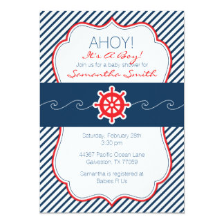 Nautical Baby Shower Invitation-Navy Blue & Red Card